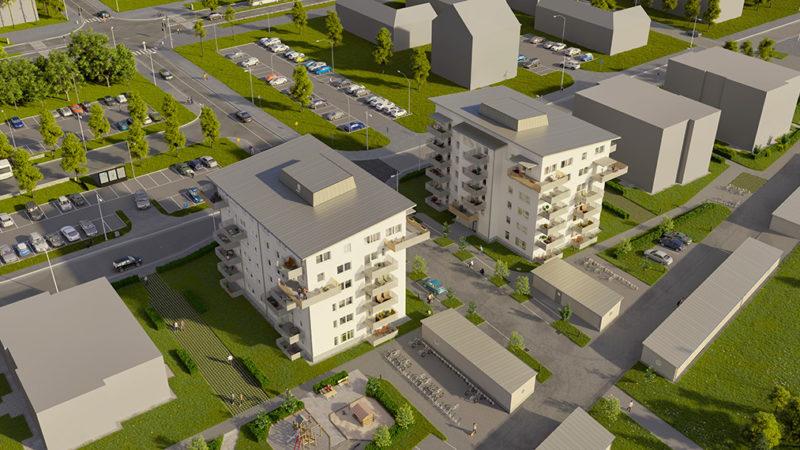 Nu växer de nya bostadshusen fram på Vikingavallen